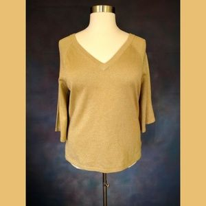 Apostrophe Gold V Neck Sweater Size 16-18W